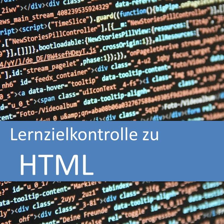 Lernzielkontrolle zu HTML