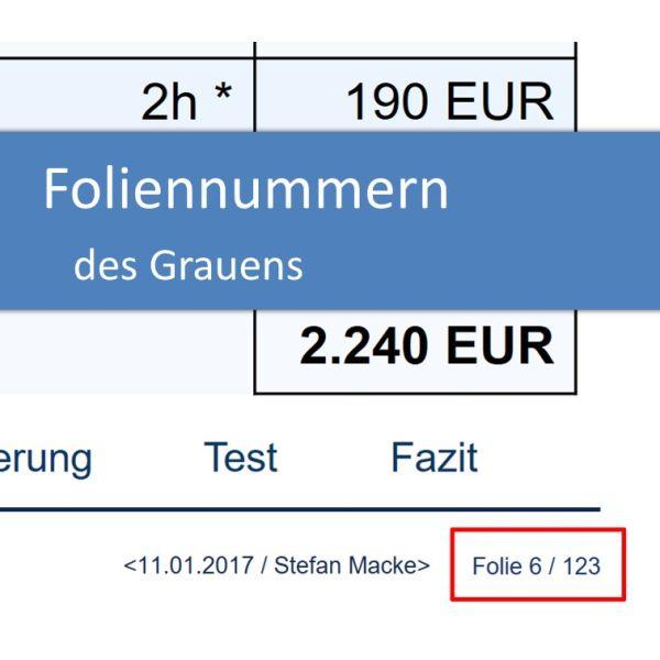 Foliennummern bzw. Seitenzahlen in der Projektpraesentation