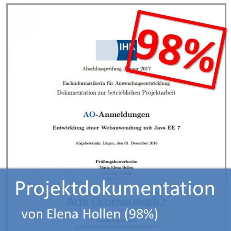 Projektdokumentation Fachinformatiker Anwendungsentwicklung 2016 Elena Hollen