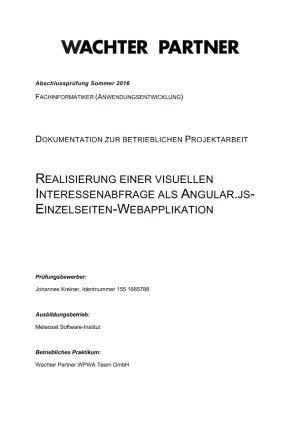Deckblatt der Projektdokumentation von Johannes Kreiner