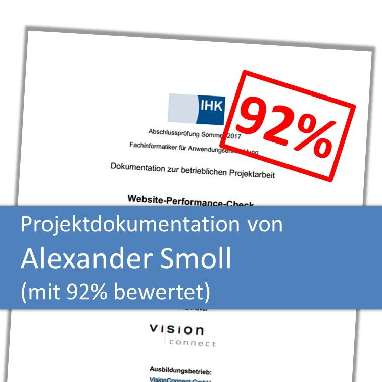 Projektdokumentation von Alexander Smoll mit 92% bewertet