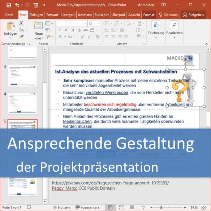Ansprechende Gestaltung der Projektpräsentation