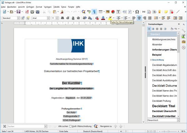 Deckblatt der Vorlage für die Projektdokumentation der IT-Berufe mit LibreOffice