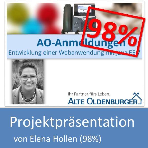 Projektpräsentation Fachinformatiker Anwendungsentwicklung 2016 Elena Hollen