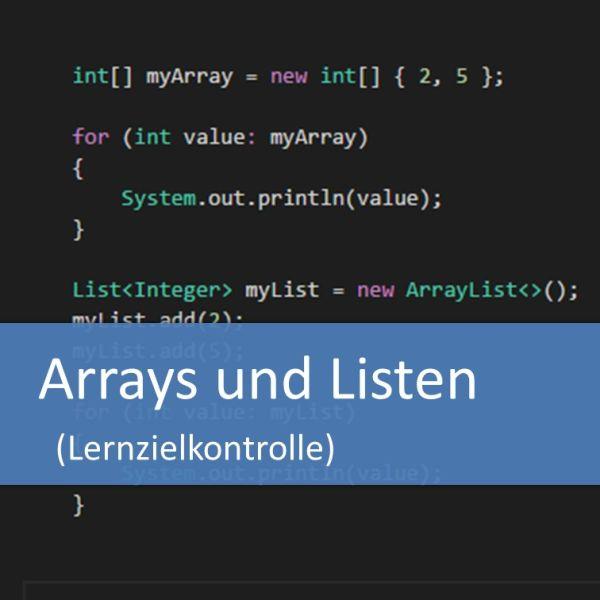 Arrays und Listen - Lernzielkontrolle