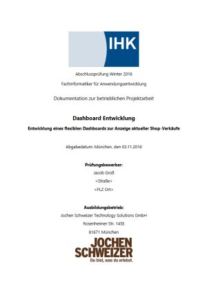 Deckblatt der Projektdokumentation von Jacob Groß