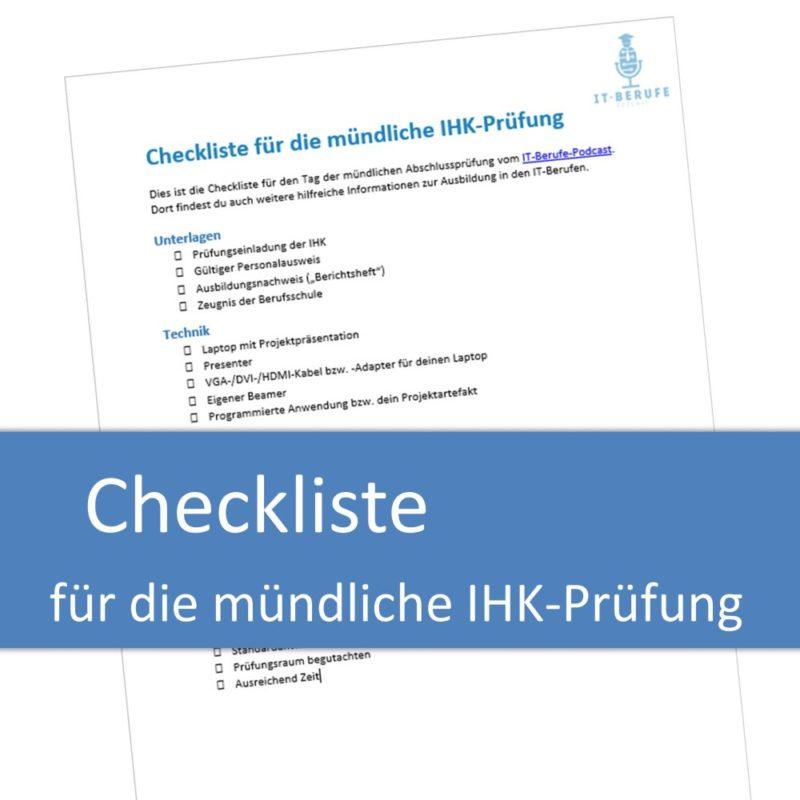 Checkliste für die mündliche IHK-Prüfung
