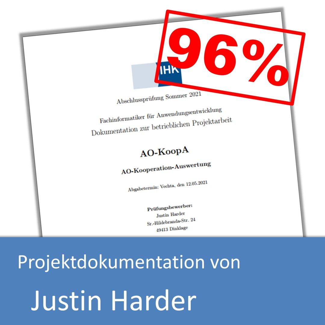 Projektdokumentation von Justin Harder (mit 96% bewertet) inkl. Projektantrag